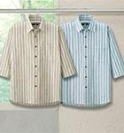 <ポールミラー>高島ちぢみストライプ柄 7分袖シャツ(同サイズ2色組)