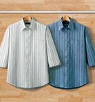 <ポールミラー>麻混しじらストライプ 7分袖シャツ(同サイズ2色組)